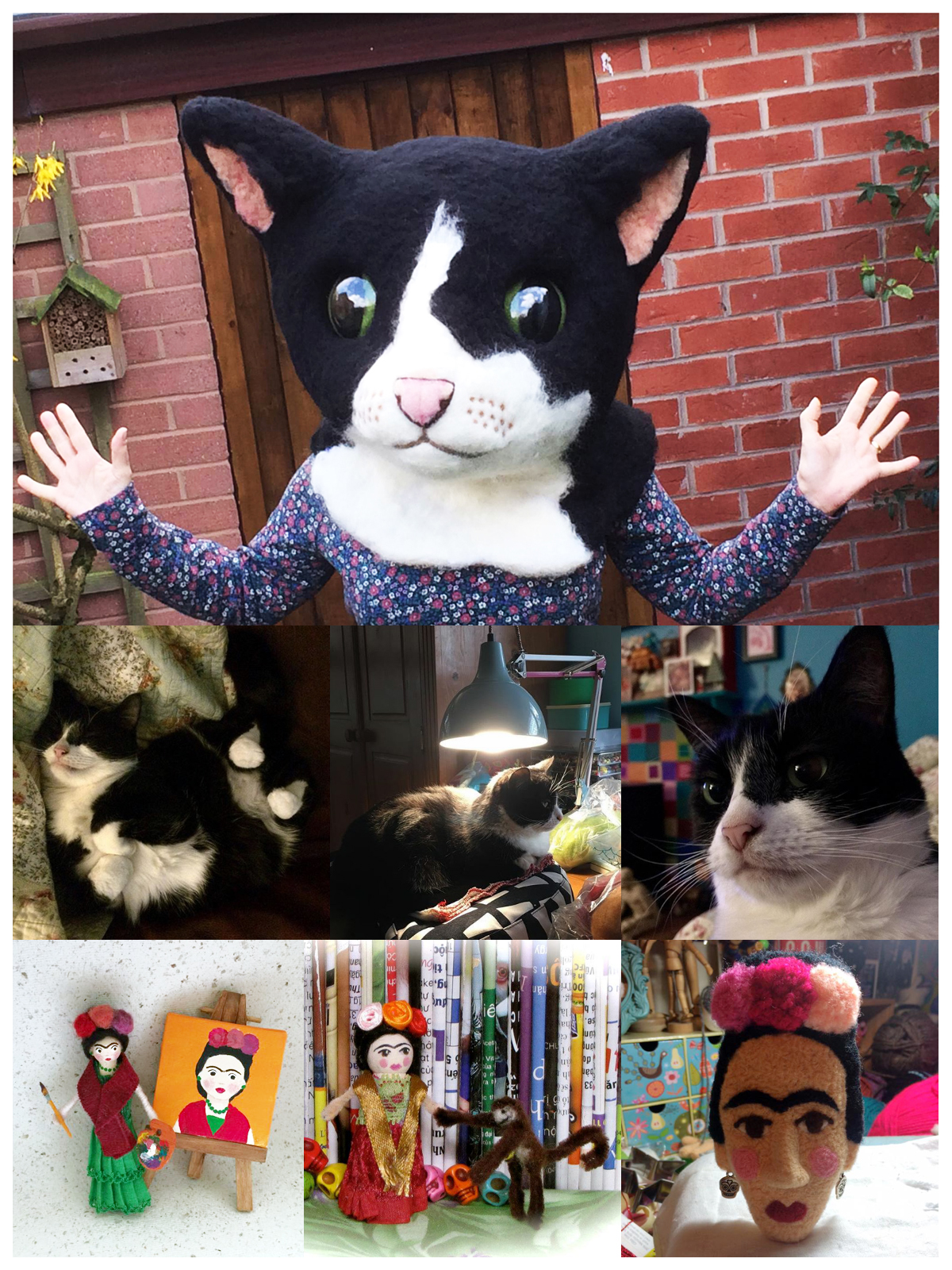 A photo montage of images of my cat, a giant woollen cat head that I made and some Frida Khola inspired pieces included a brooch and a peg doll.